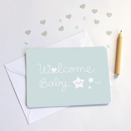 Zü - Carte welcome baby - bleu