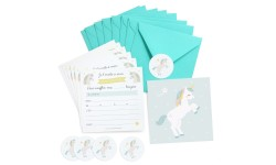 Zü - Invitations anniversaire licorne - Lot de 8